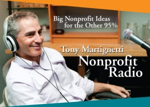An image of the promotional postcard for Nonprofit Radio showing Tony Martignetti in the studio.