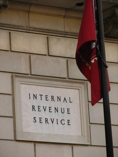 Picture of a fading IRS sign in Washington D.C.