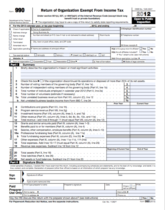 A picture of IRS form 990