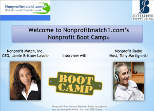 Promo shot for the Nonprofit Boot Camp with host Jamie Bristow-Lavoie